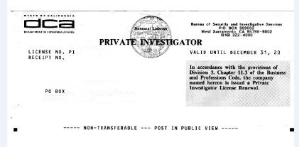 California Private Investigator license test study questions