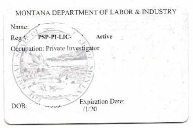 Montana private investigator license exam